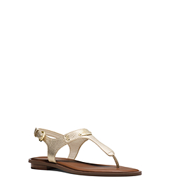 Logo Plaque Metallic Leather Sandal