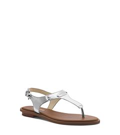 Logo-Plaque Metallic Leather Sandal