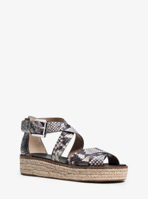 Darby Embossed-Leather Platform Sandal by Michael Kors