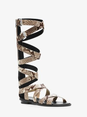 Darby Mid-Calf Embossed-Leather Sandal by Michael Kors