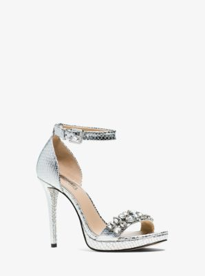Sylvie Embossed-Leather Sandal  by Michael Kors