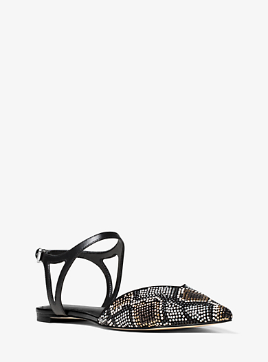 Ciara Embellished Suede Flat by Michael Kors