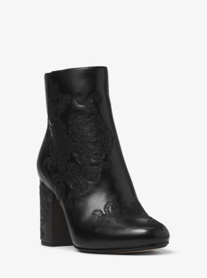 Claire Embossed-Leather Ankle Boot