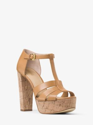 Mercer Cork Platform Leather Sandal by Michael Kors