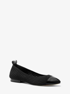 마이클 마이클 코어스 Michael Michael Kors Vicky Logo Tape Knit Ballet Flat,BLACK