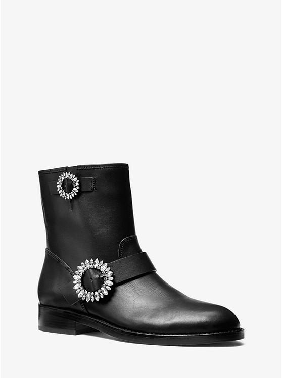 Viola Embellished Leather Moto Boot | Michael Kors