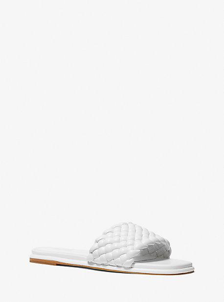 Michael Kors Amelia Braided Slide Sandal In White