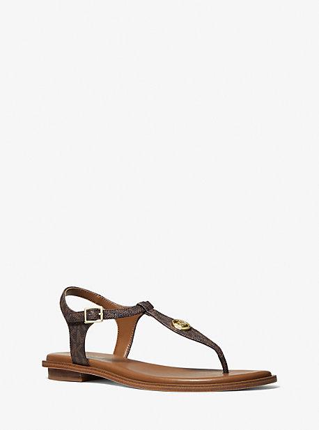 Michael Kors Mallory Logo T-strap Sandal In Brown