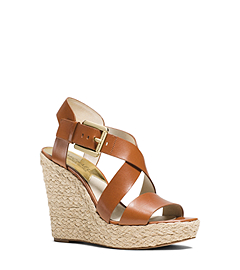 Giovanna Leather Espadrille Wedge Sandal