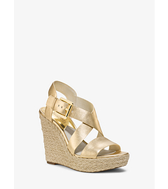 Giovanna Metallic-Leather Espadrille Wedge