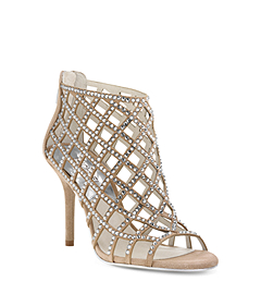 Yvonne Crystal and Suede Cage Sandal