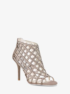 Yvonne Crystal and Suede Cage Sandal by Michael Kors