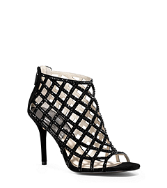Yvonne Crystal and Suede Cage Pump