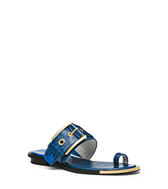 Calder Lizard-Embossed Leather Flat Sandal