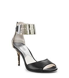 Guiliana Snake-Embossed Leather Ankle-Strap Sandal