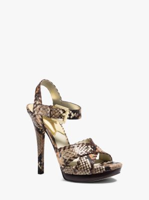 Odessa Embossed-Leather Sandal by Michael Kors