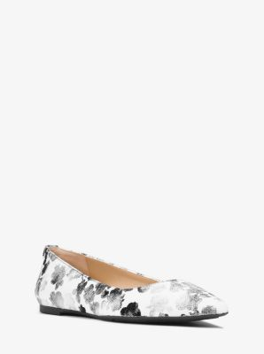 Arianna Floral-Print Canvas Flat  by Michael Kors