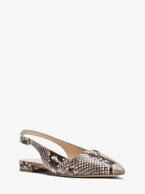 Claudia Embossed-Leather Sling-Back Flat  by Michael Kors