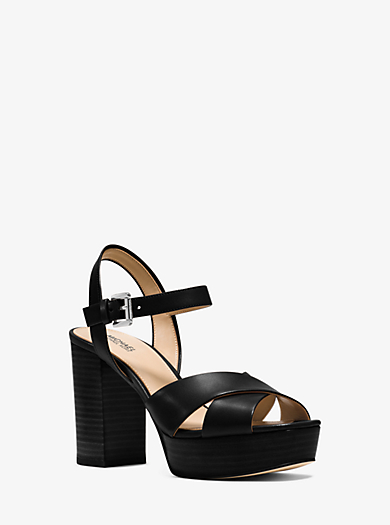Divia Leather Platform Sandal  by Michael Kors