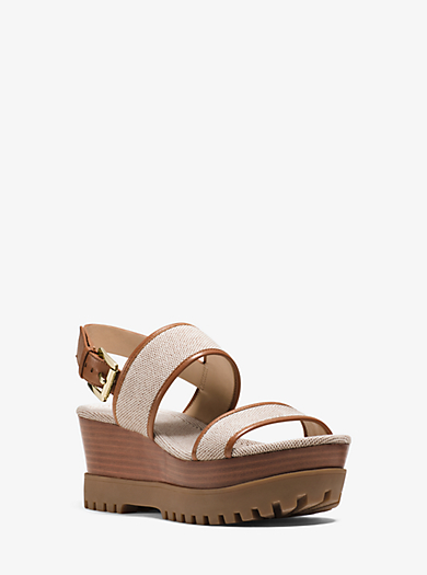 Gillian Canvas and Leather Wedge  by Michael Kors