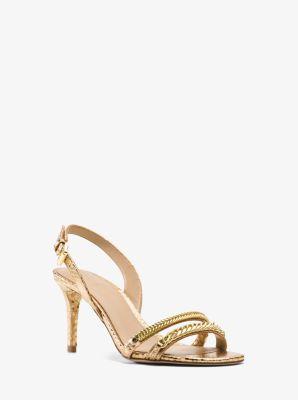 Jackie Metallic Embossed-Leather Sandal  by Michael Kors