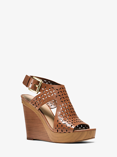 Josephine Perforated-Leather Wedge  by Michael Kors