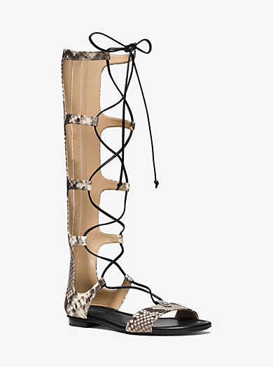 Sofia Embossed-Leather Gladiator Sandal  by Michael Kors