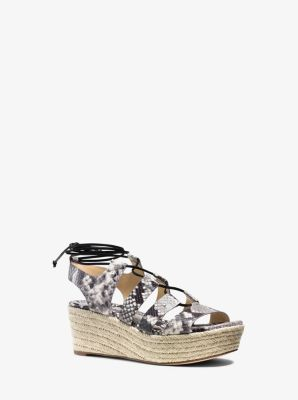Sofia Embossed-Leather Flatform Sandal  by Michael Kors