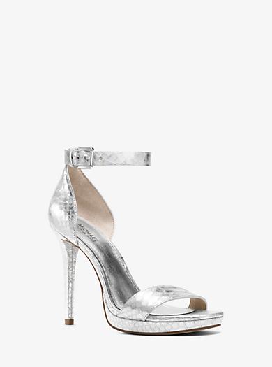Sienna Metallic Embossed-Leather Sandal  by Michael Kors
