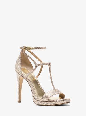 Simone Glitter Leather Sandal  by Michael Kors