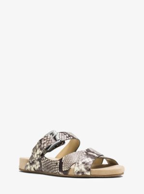 Sawyer Embossed-Leather Sandal  by Michael Kors