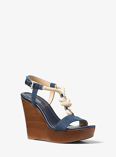 Zeppa Holly in denim con finiture di corda by Michael Kors