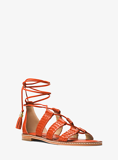 Monterey Gladiator Leather Lace-Up Sandal by Michael Kors