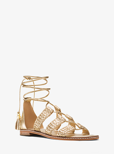 Monterey Gladiator Metallic Leather Lace-Up Sandal by Michael Kors
