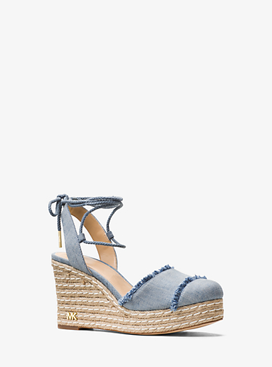 Tibby Lace-Up Denim Wedge by Michael Kors