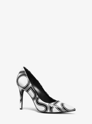 마이클 마이클 코어스 펌프스 Michael Michael Kors Claire Graphic Logo Leather Pump,WHITE/BLACK