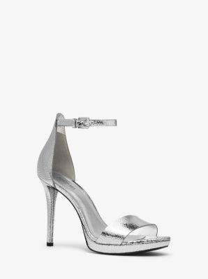 마이클 마이클 코어스 Michael Michael Kors Hutton Crackled Metallic Leather Sandal,SILVER