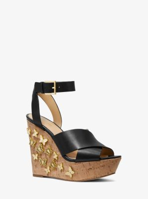 마이클 마이클 코어스 웻지 Michael Michael Kors Lacey Butterfly Embellished Leather Wedge