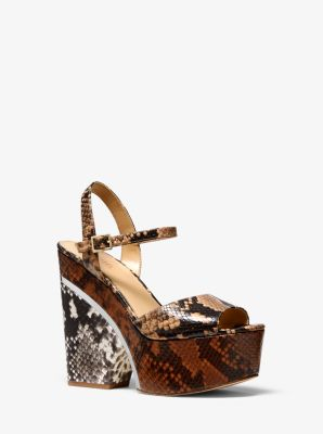 마이클 마이클 코어스 웻지 샌들 Michael Michael Kors Lana Color-Block Python Embossed Leather Wedge Sandal,BUTTERNUT