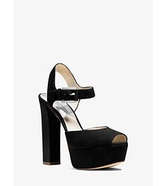 London Suede Platform Peep-Toe Sandal