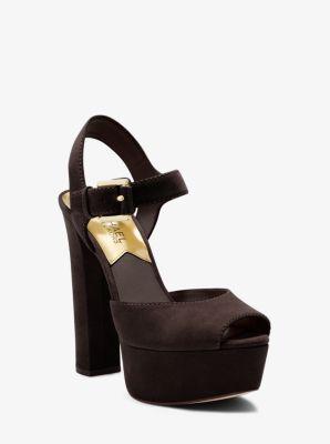London Suede Platform Peep-Toe Sandal by Michael Kors