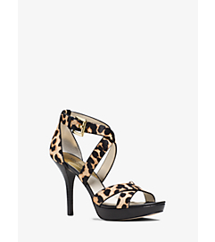 Evie Cheetah Calf Hair Platform Sandal by Michael Kors