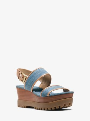 Gillian Leather-Trimmed Denim Wedge by Michael Kors