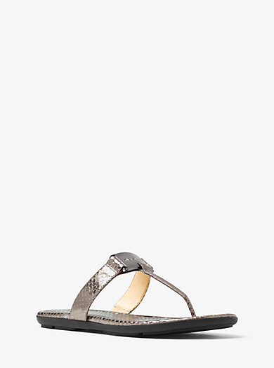 Colleen Embossed-Leather Thong  by Michael Kors