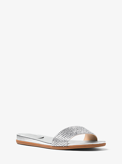Eleanor Satin and Metallic Leather Slide  by Michael Kors