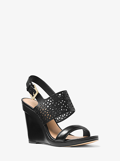 Sonya Perforated-Leather Wedge by Michael Kors
