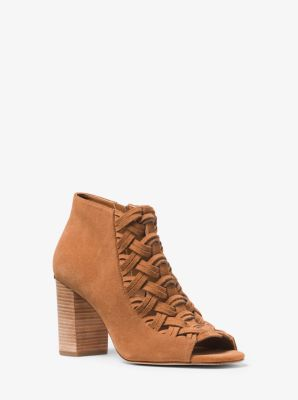 Westley Peep-Toe Suede Ankle Boot by Michael Kors