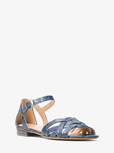Annaliese Embossed-Leather Sandal by Michael Kors