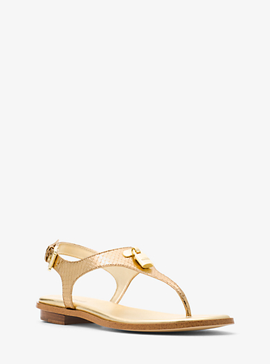 Mira Embossed-Leather Sandal by Michael Kors