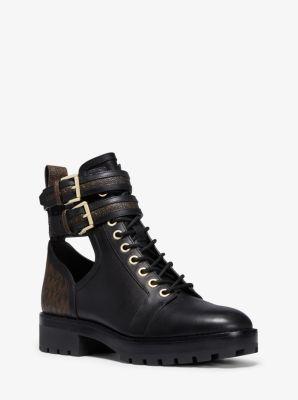 마이클 마이클 코어스 Michael Michael Kors Bensen Logo and Leather Combat Boot,BLK/BROWN